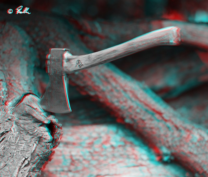 throwing hatchet red-cyan Anaglyph   © Falk 2014